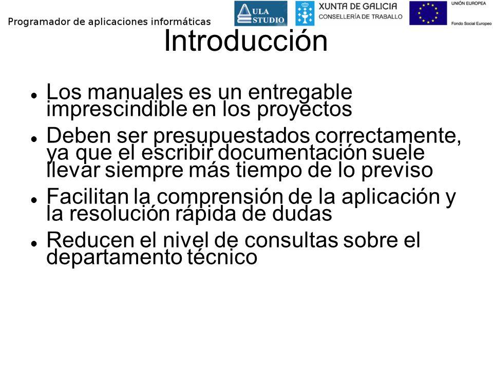 Introducción Los manuales es un entregable imprescindible en los proyectos Deben ser presupuestados correctamente, ya que el escribir documentación su
