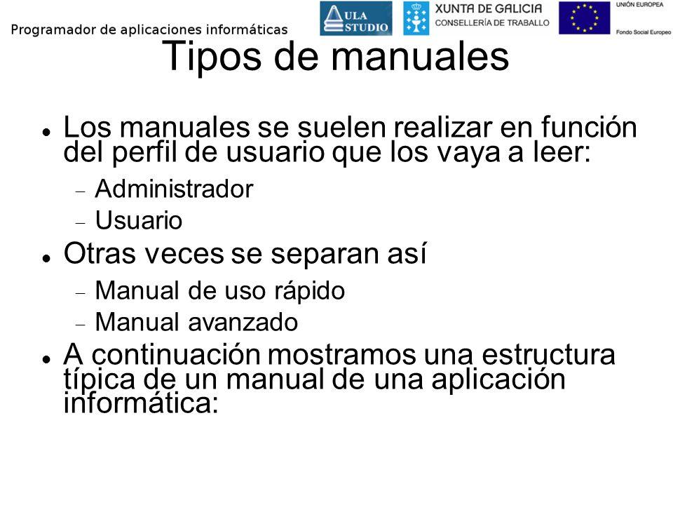 Tipos de manuales Los manuales se suelen realizar en función del perfil de usuario que los vaya a leer: Administrador Usuario Otras veces se separan a