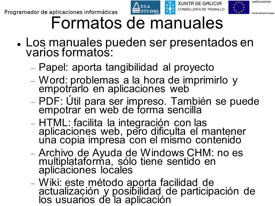 Formatos de manuales Los manuales pueden ser presentados en varios formatos: Papel: aporta tangibilidad al proyecto Word: problemas a la hora de impri