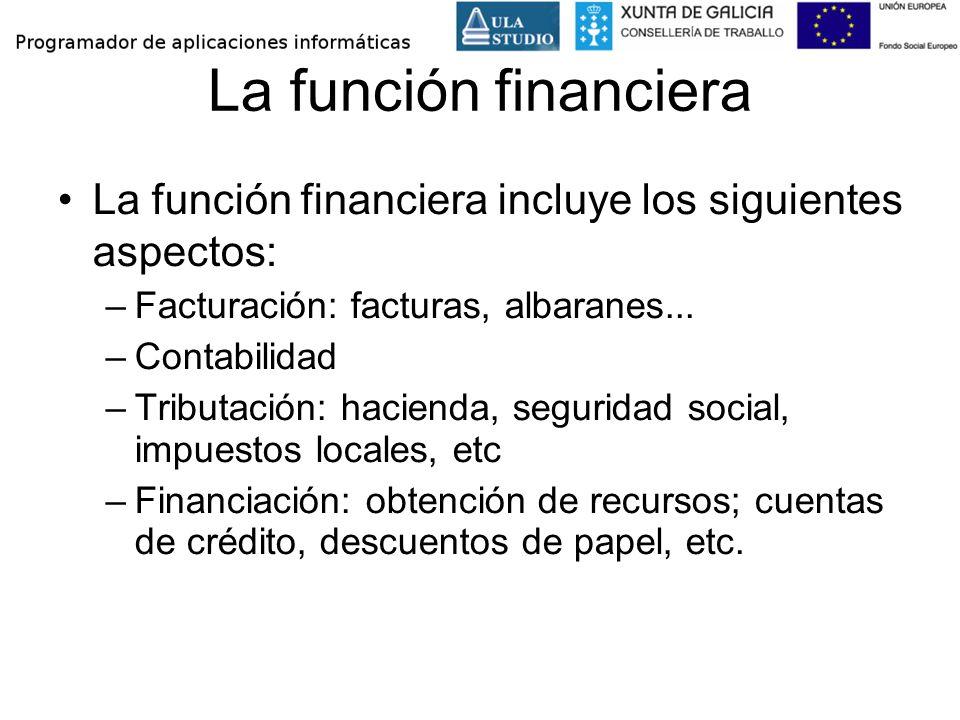 La función financiera La función financiera incluye los siguientes aspectos: –Facturación: facturas, albaranes... –Contabilidad –Tributación: hacienda