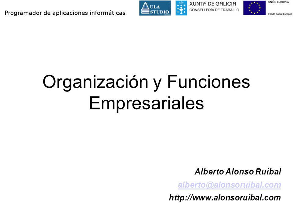 Indice Concepto de empresa Organización de la empresa Funciones empresariales
