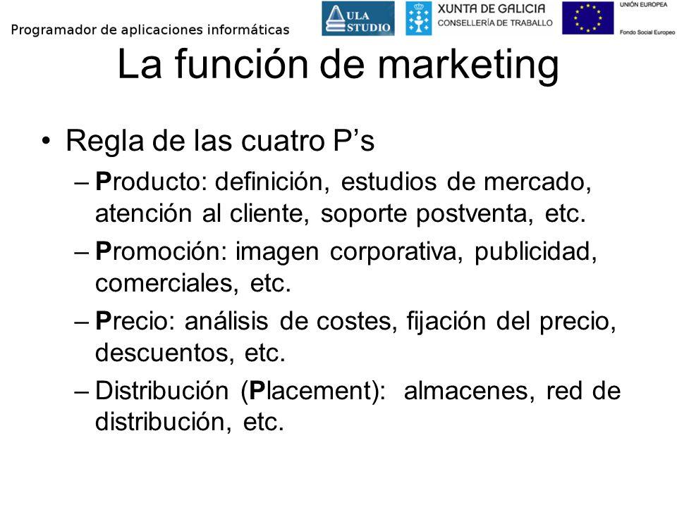 La función de marketing Regla de las cuatro Ps –Producto: definición, estudios de mercado, atención al cliente, soporte postventa, etc. –Promoción: im