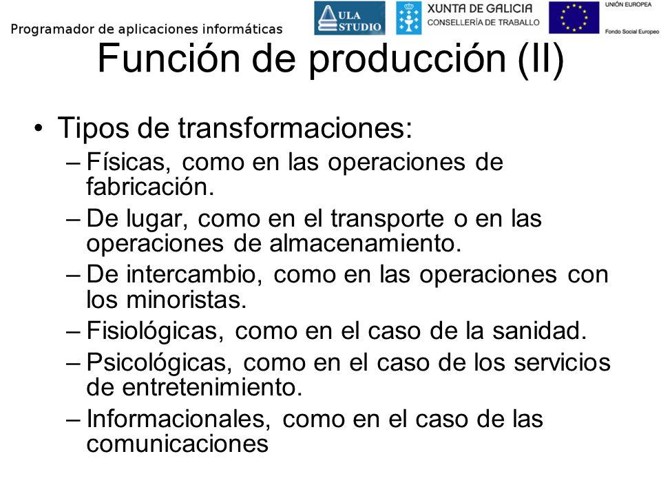 Función de producción (II) Tipos de transformaciones: –Físicas, como en las operaciones de fabricación. –De lugar, como en el transporte o en las oper