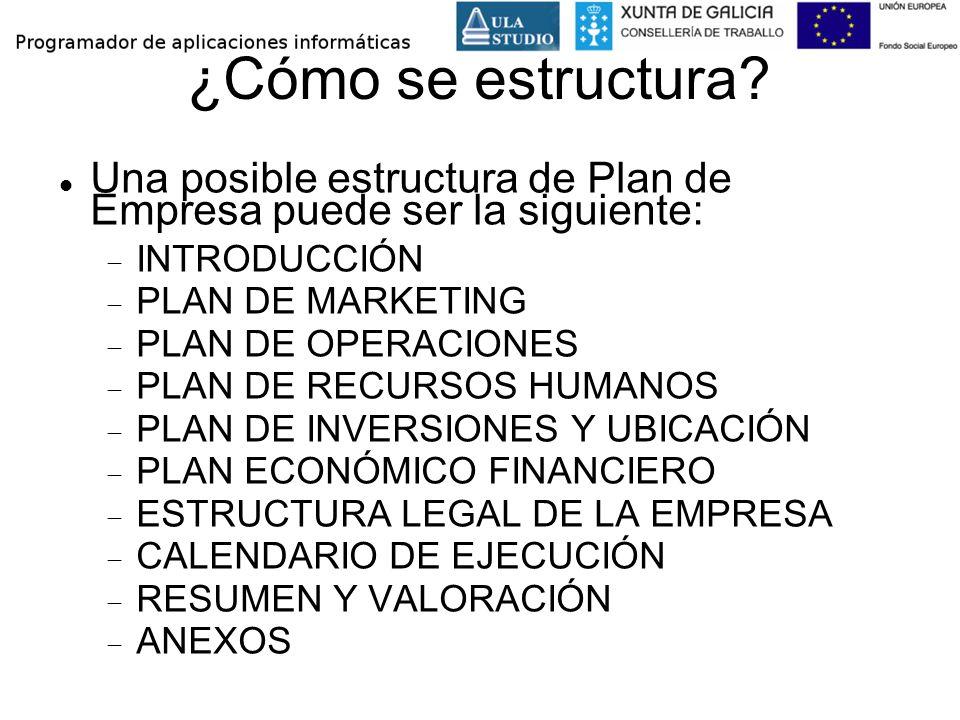 ¿Cómo se estructura? Una posible estructura de Plan de Empresa puede ser la siguiente: INTRODUCCIÓN PLAN DE MARKETING PLAN DE OPERACIONES PLAN DE RECU