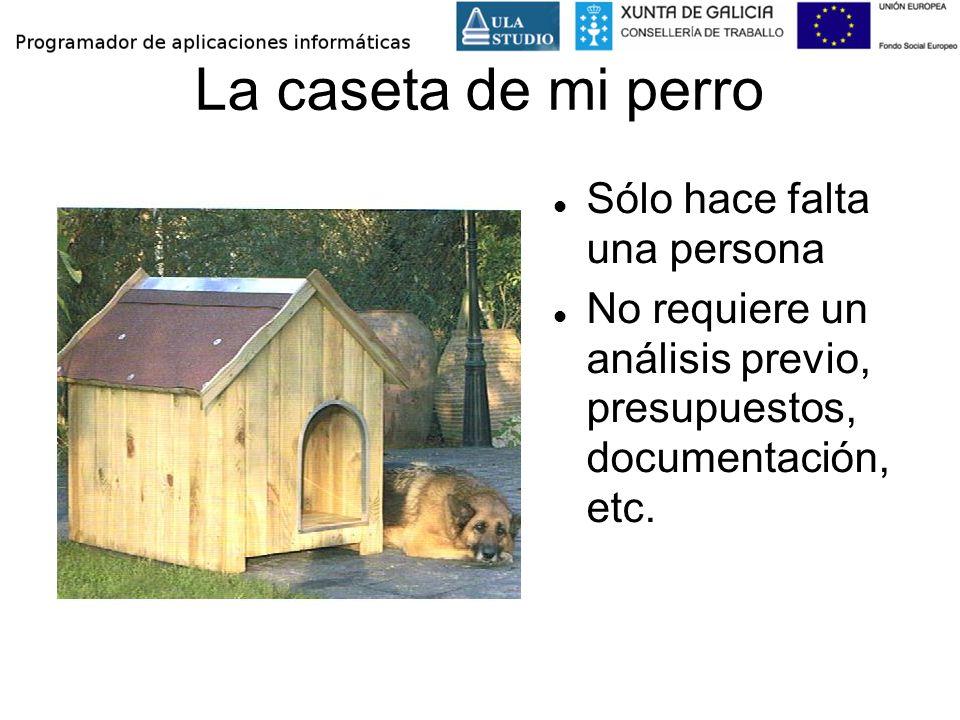 La caseta de mi perro Sólo hace falta una persona No requiere un análisis previo, presupuestos, documentación, etc.