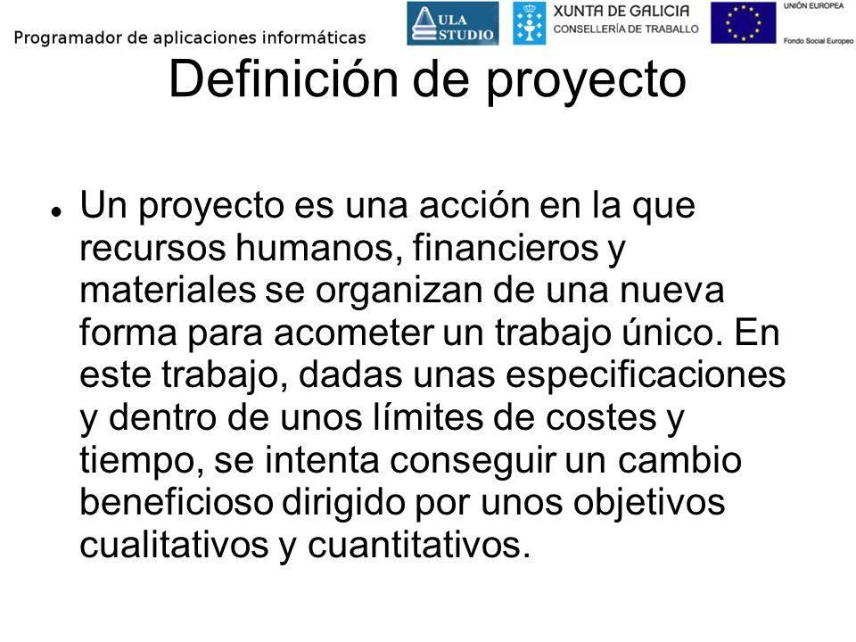 Definición de proyecto Un proyecto es una acción en la que recursos humanos, financieros y materiales se organizan de una nueva forma para acometer un