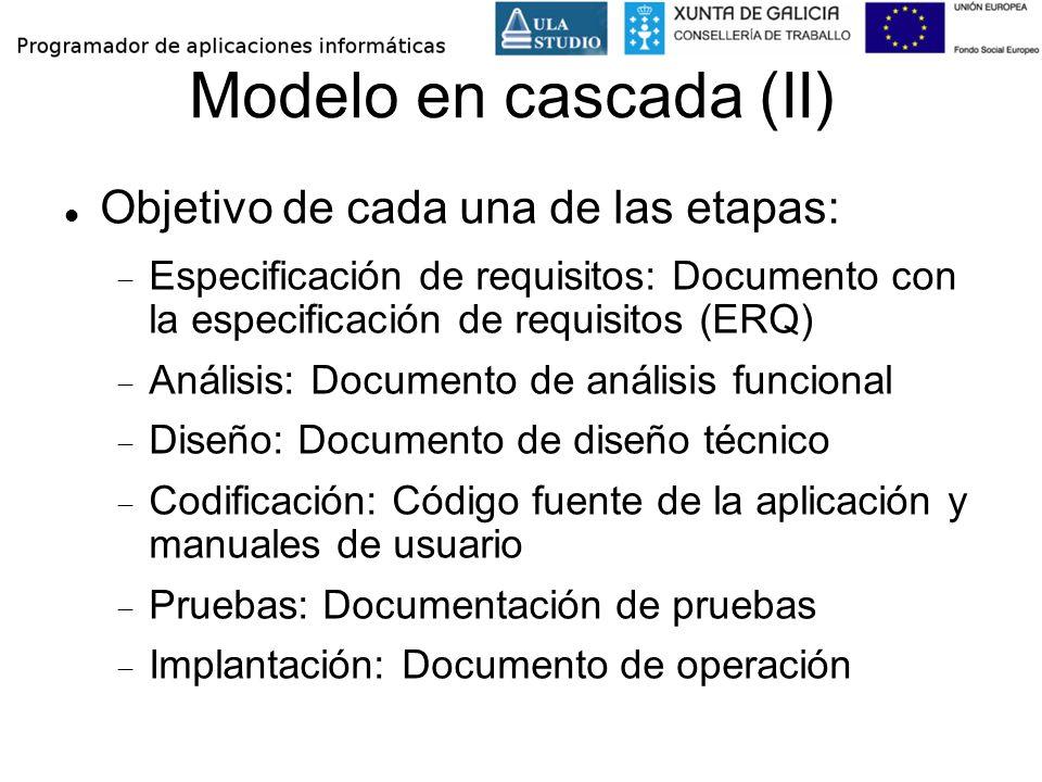 Modelo en cascada (II) Objetivo de cada una de las etapas: Especificación de requisitos: Documento con la especificación de requisitos (ERQ) Análisis: