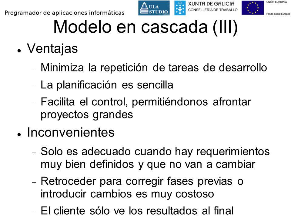 Modelo en cascada (III) Ventajas Minimiza la repetición de tareas de desarrollo La planificación es sencilla Facilita el control, permitiéndonos afron