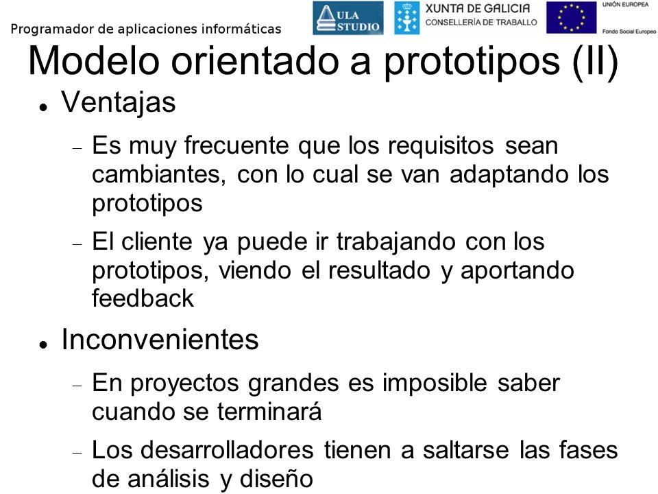 Modelo orientado a prototipos (II) Ventajas Es muy frecuente que los requisitos sean cambiantes, con lo cual se van adaptando los prototipos El client