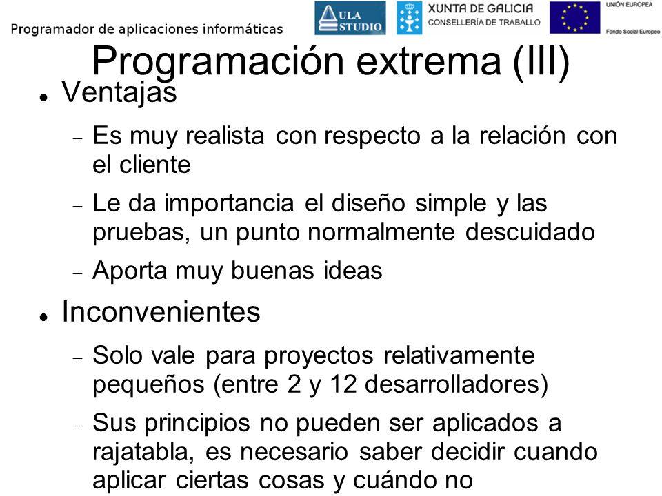 Programación extrema (III) Ventajas Es muy realista con respecto a la relación con el cliente Le da importancia el diseño simple y las pruebas, un pun