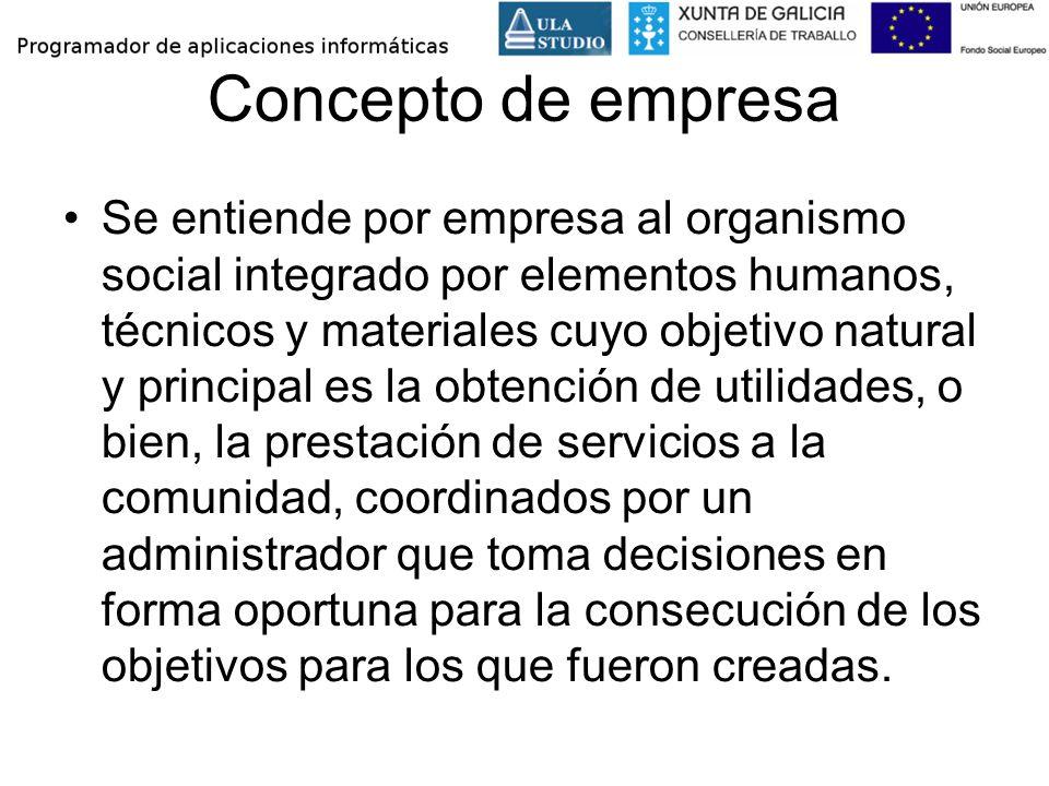 Concepto de empresa Se entiende por empresa al organismo social integrado por elementos humanos, técnicos y materiales cuyo objetivo natural y princip
