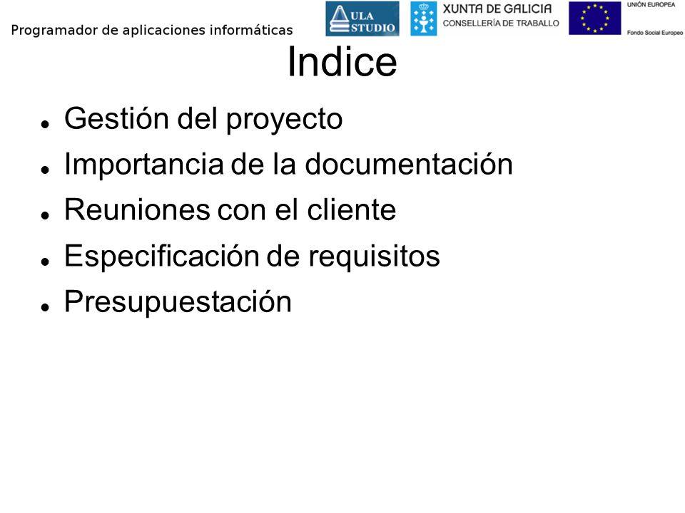 Indice Gestión del proyecto Importancia de la documentación Reuniones con el cliente Especificación de requisitos Presupuestación