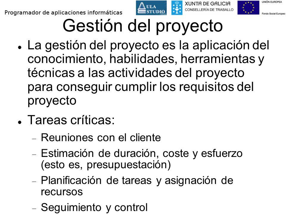 Gestión del proyecto La gestión del proyecto es la aplicación del conocimiento, habilidades, herramientas y técnicas a las actividades del proyecto pa