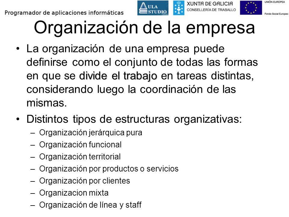 La función de dirección La dirección de una empresa debe: –Definir los objetivos de la empresa –Planificar el crecimiento –Controlar los resultados sobre los objetivos planteados –Liderar y coordinar los distintos departamentos