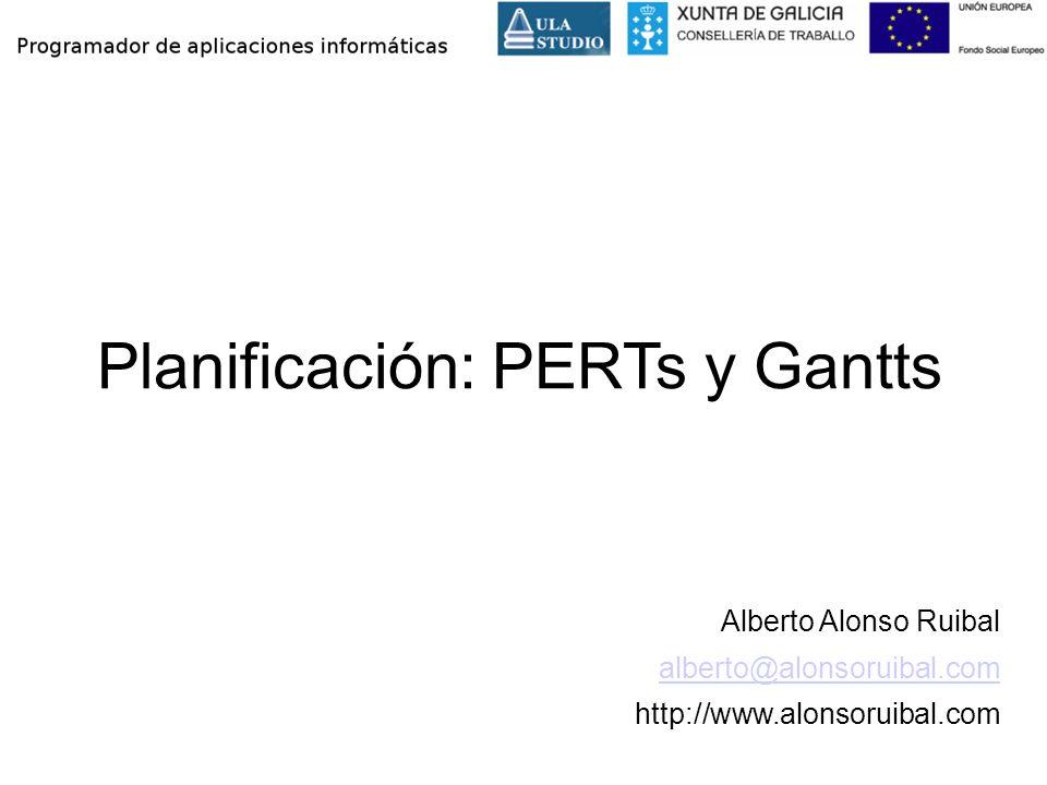 Planificación: PERTs y Gantts Alberto Alonso Ruibal alberto@alonsoruibal.com http://www.alonsoruibal.com