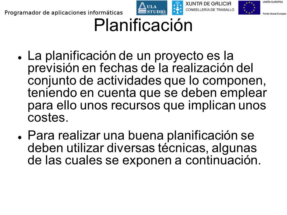 Planificación La planificación de un proyecto es la previsión en fechas de la realización del conjunto de actividades que lo componen, teniendo en cue