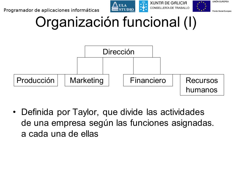 Organización funcional (I) Definida por Taylor, que divide las actividades de una empresa según las funciones asignadas. a cada una de ellas Dirección