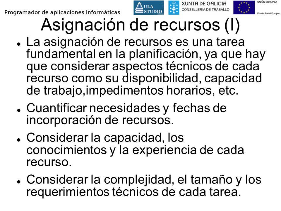 Asignación de recursos (I) La asignación de recursos es una tarea fundamental en la planificación, ya que hay que considerar aspectos técnicos de cada