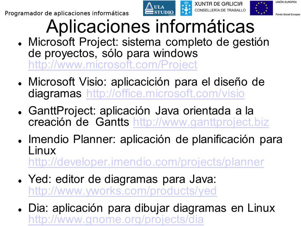 Aplicaciones informáticas Microsoft Project: sistema completo de gestión de proyectos, sólo para windows http://www.microsoft.com/Project http://www.m