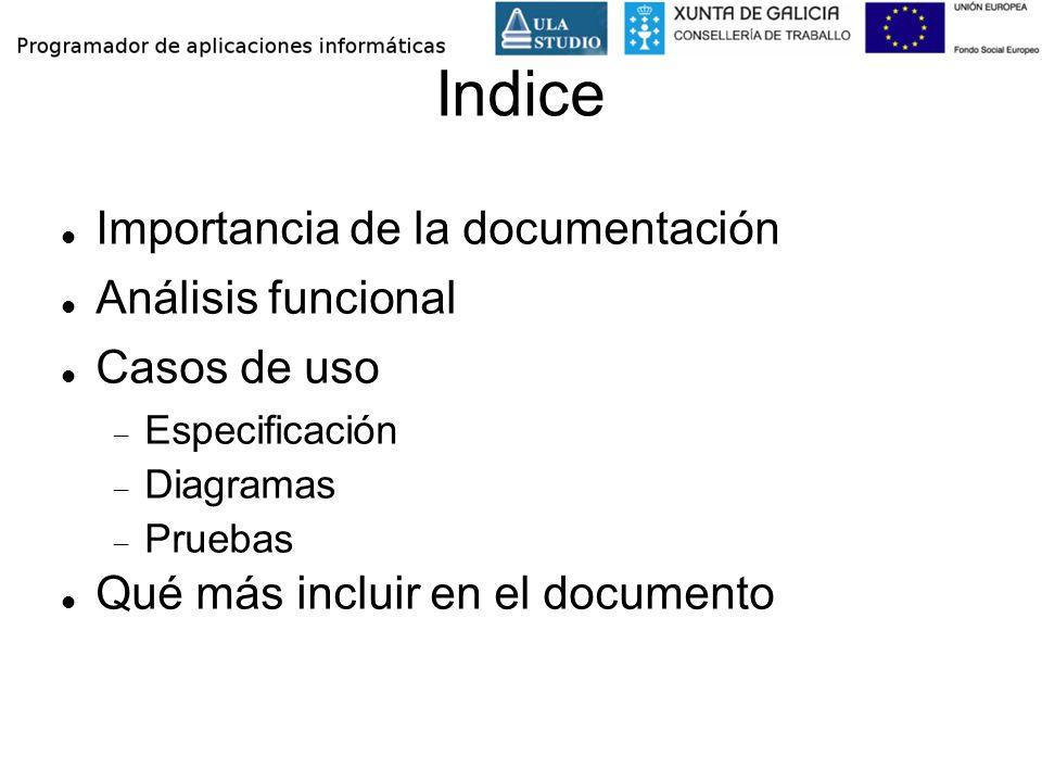 Indice Importancia de la documentación Análisis funcional Casos de uso Especificación Diagramas Pruebas Qué más incluir en el documento