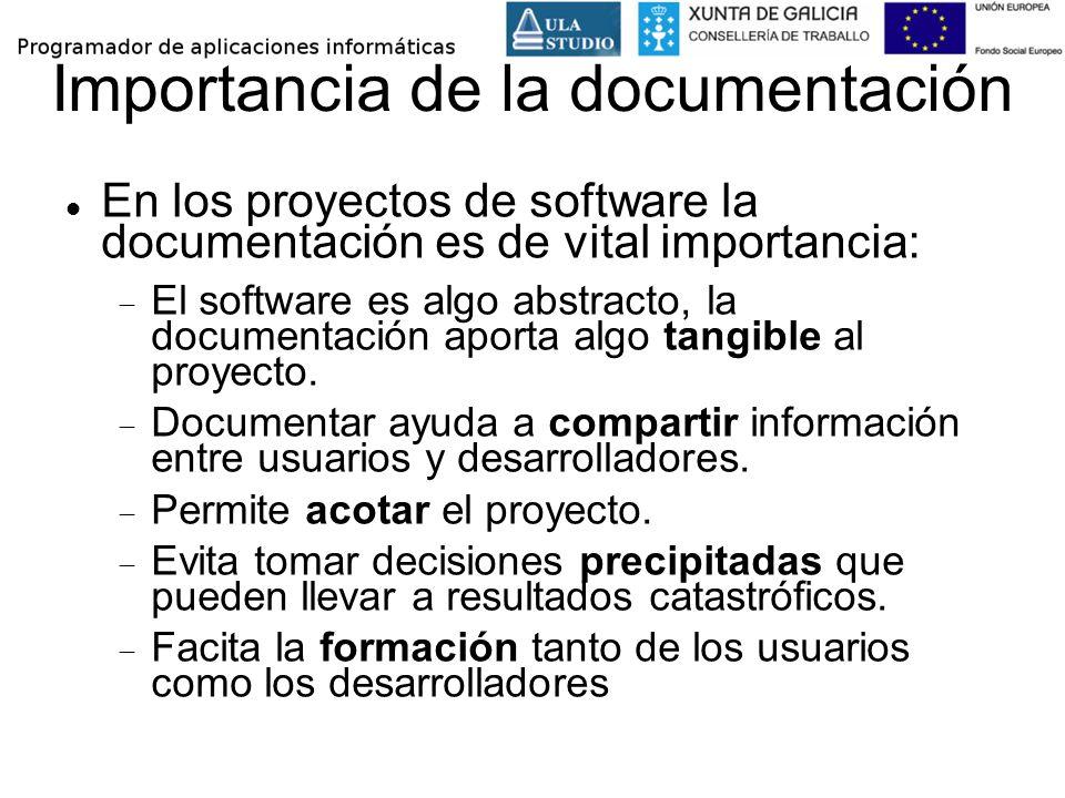 Importancia de la documentación En los proyectos de software la documentación es de vital importancia: El software es algo abstracto, la documentación