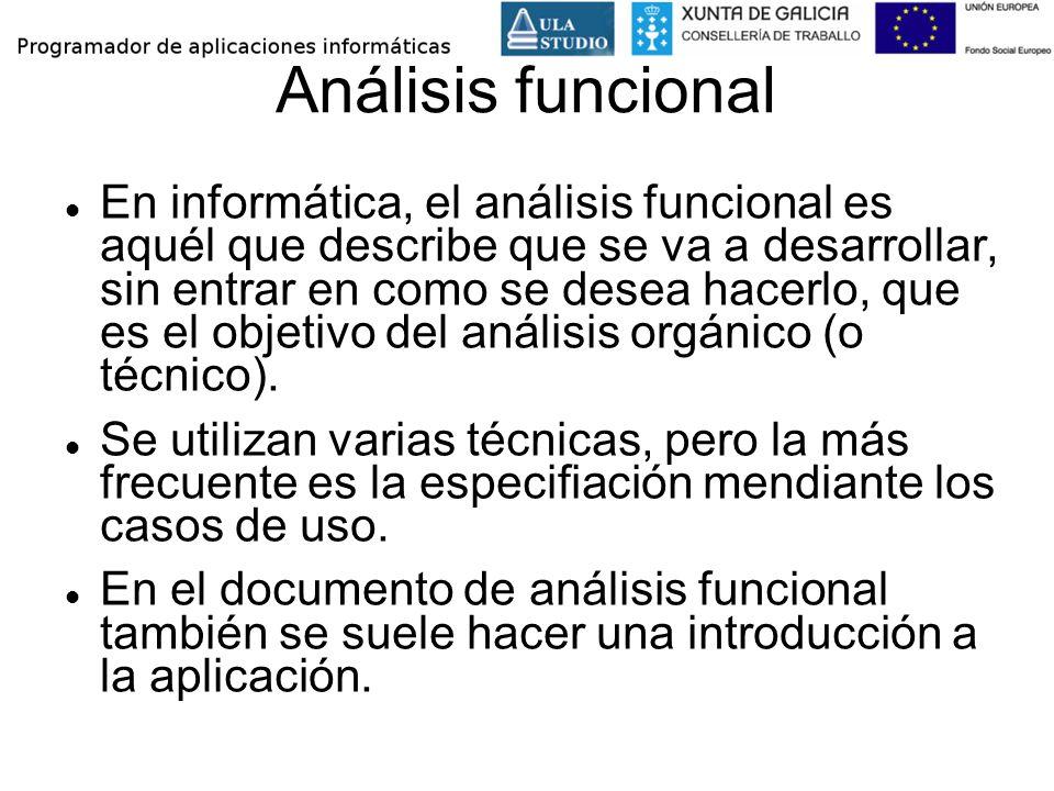 Análisis funcional En informática, el análisis funcional es aquél que describe que se va a desarrollar, sin entrar en como se desea hacerlo, que es el