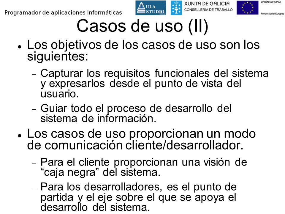 Casos de uso (II) Los objetivos de los casos de uso son los siguientes: Capturar los requisitos funcionales del sistema y expresarlos desde el punto d