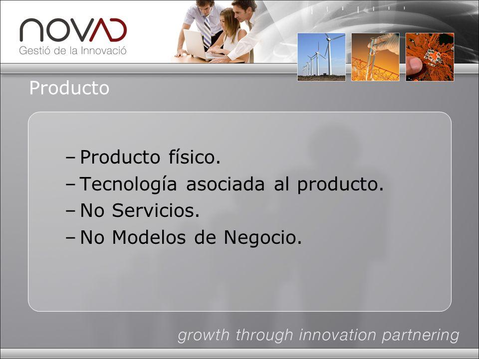Producto –Producto físico. –Tecnología asociada al producto. –No Servicios. –No Modelos de Negocio.
