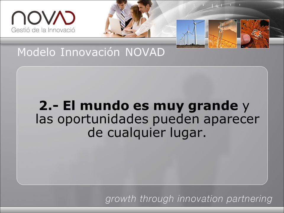 Modelo Innovación NOVAD 2.- El mundo es muy grande y las oportunidades pueden aparecer de cualquier lugar.