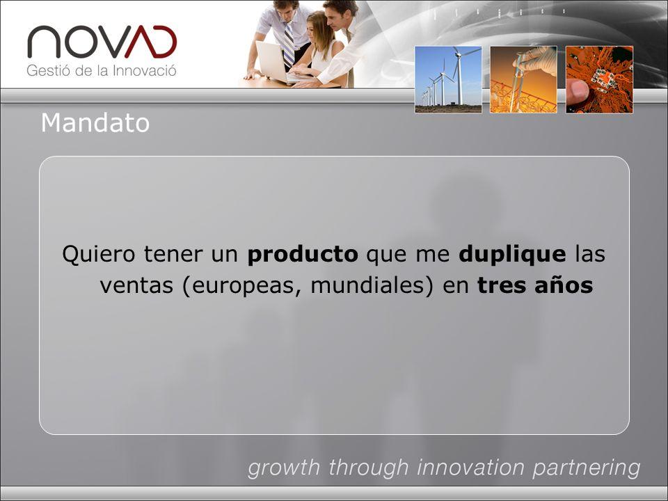 Mandato Quiero tener un producto que me duplique las ventas (europeas, mundiales) en tres años