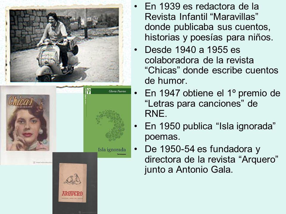 En 1939 es redactora de la Revista Infantil Maravillas donde publicaba sus cuentos, historias y poesías para niños. Desde 1940 a 1955 es colaboradora