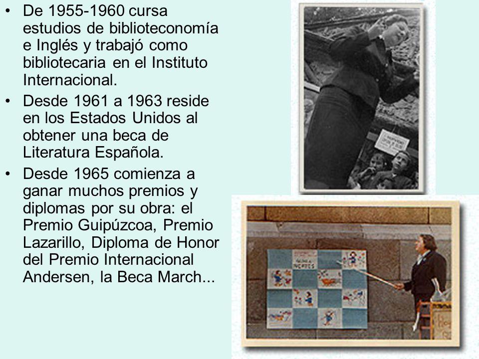 De 1955-1960 cursa estudios de biblioteconomía e Inglés y trabajó como bibliotecaria en el Instituto Internacional. Desde 1961 a 1963 reside en los Es