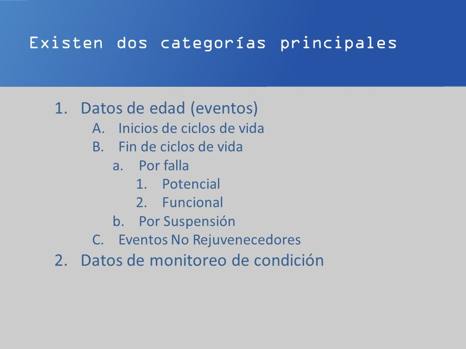 Existen dos categorías principales 1.Datos de edad (eventos) A.Inicios de ciclos de vida B.Fin de ciclos de vida a.Por falla 1.Potencial 2.Funcional b.Por Suspensión C.Eventos No Rejuvenecedores 2.Datos de monitoreo de condición A.Medidas e Inspecciones B.Datos del proceso