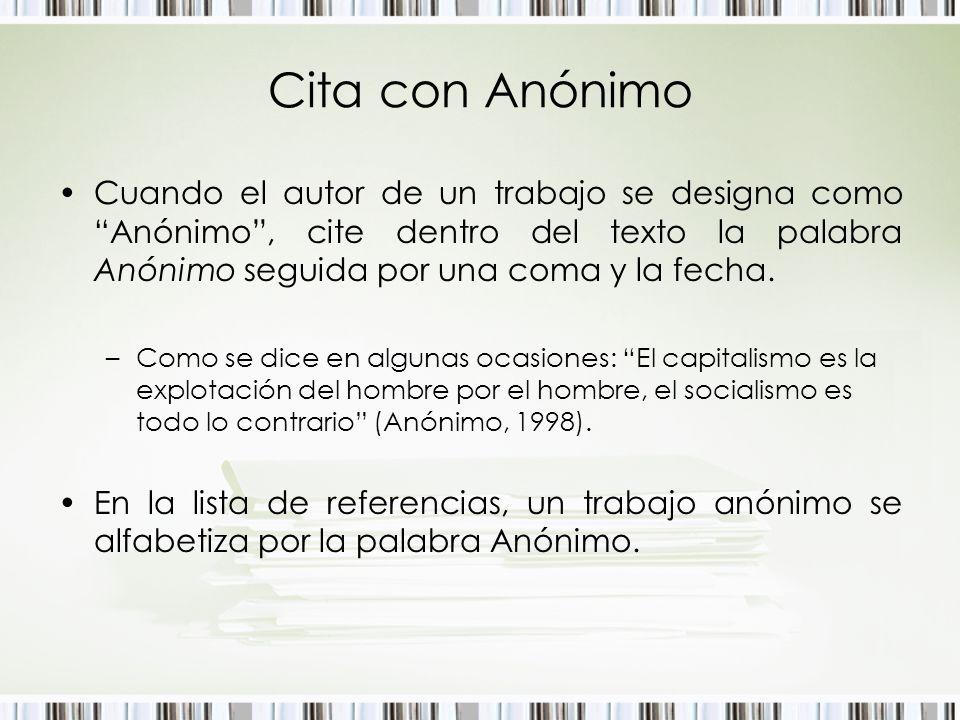 Cita con Anónimo Cuando el autor de un trabajo se designa como Anónimo, cite dentro del texto la palabra Anónimo seguida por una coma y la fecha. –Com