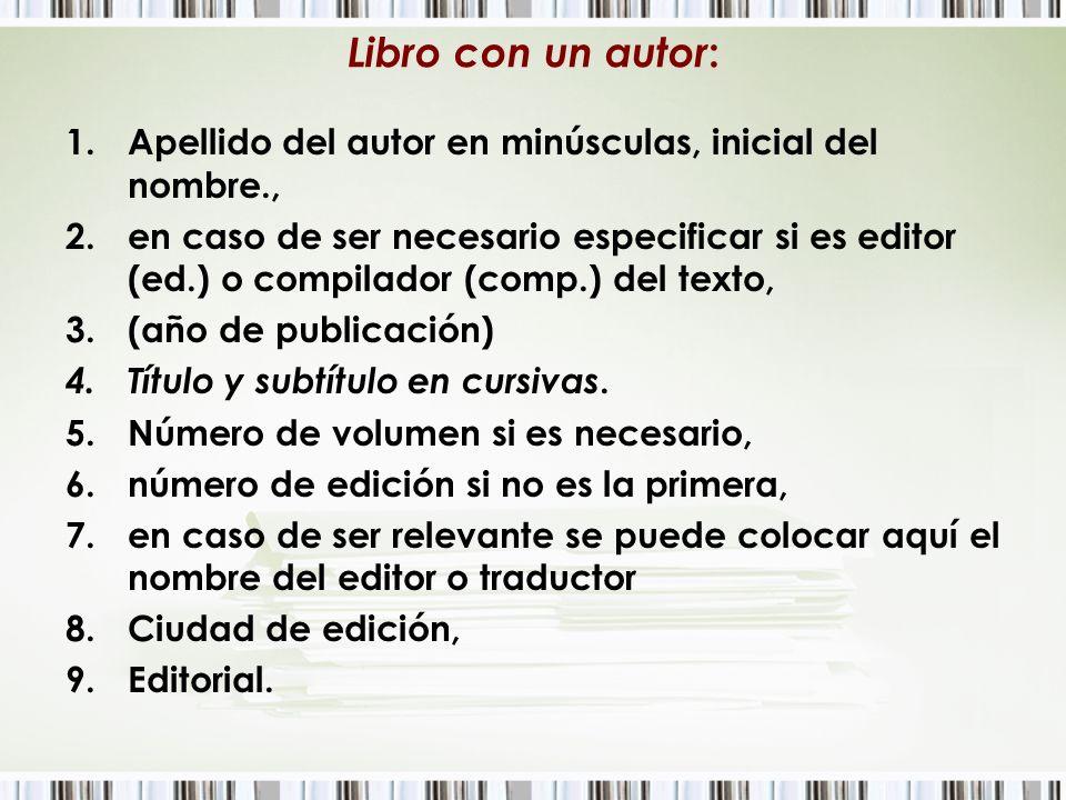 Libro con un autor : 1.Apellido del autor en minúsculas, inicial del nombre., 2.en caso de ser necesario especificar si es editor (ed.) o compilador (