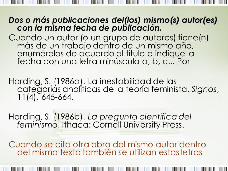 Dos o más publicaciones del(los) mismo(s) autor(es) con la misma fecha de publicación. Cuando un autor (o un grupo de autores) tiene(n) más de un trab