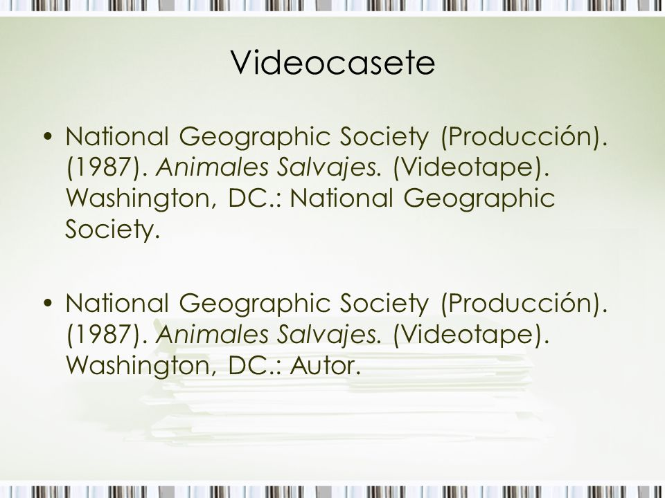 Videocasete National Geographic Society (Producción). (1987). Animales Salvajes. (Videotape). Washington, DC.: National Geographic Society. National G