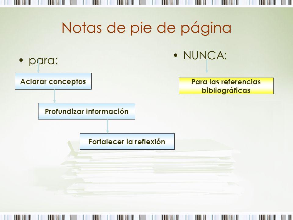 Notas de pie de página para: Aclarar conceptos Profundizar información Fortalecer la reflexión NUNCA: Para las referencias bibliográficas
