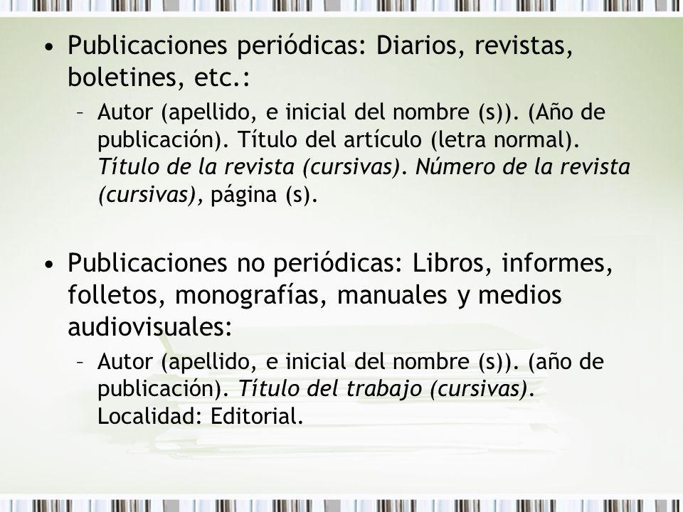 Publicaciones periódicas: Diarios, revistas, boletines, etc.: –Autor (apellido, e inicial del nombre (s)). (Año de publicación). Título del artículo (