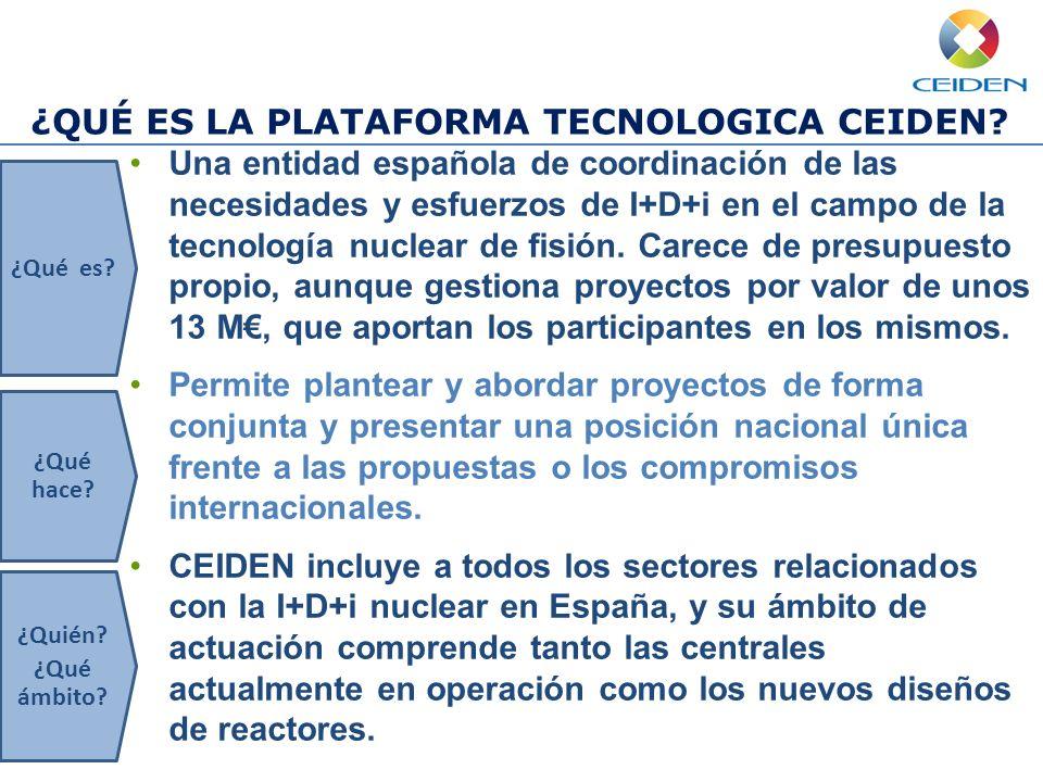 ¿QUÉ ES LA PLATAFORMA TECNOLOGICA CEIDEN? Una entidad española de coordinación de las necesidades y esfuerzos de I+D+i en el campo de la tecnología nu
