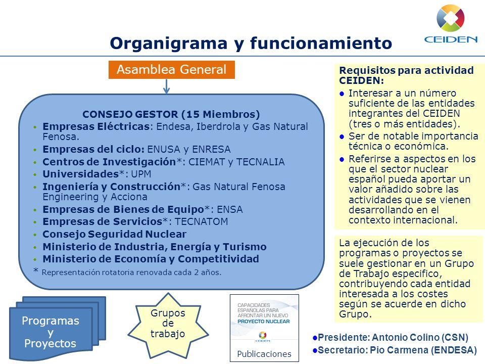 Asamblea General Organigrama y funcionamiento CONSEJO GESTOR (15 Miembros) Empresas Eléctricas: Endesa, Iberdrola y Gas Natural Fenosa. Empresas del c