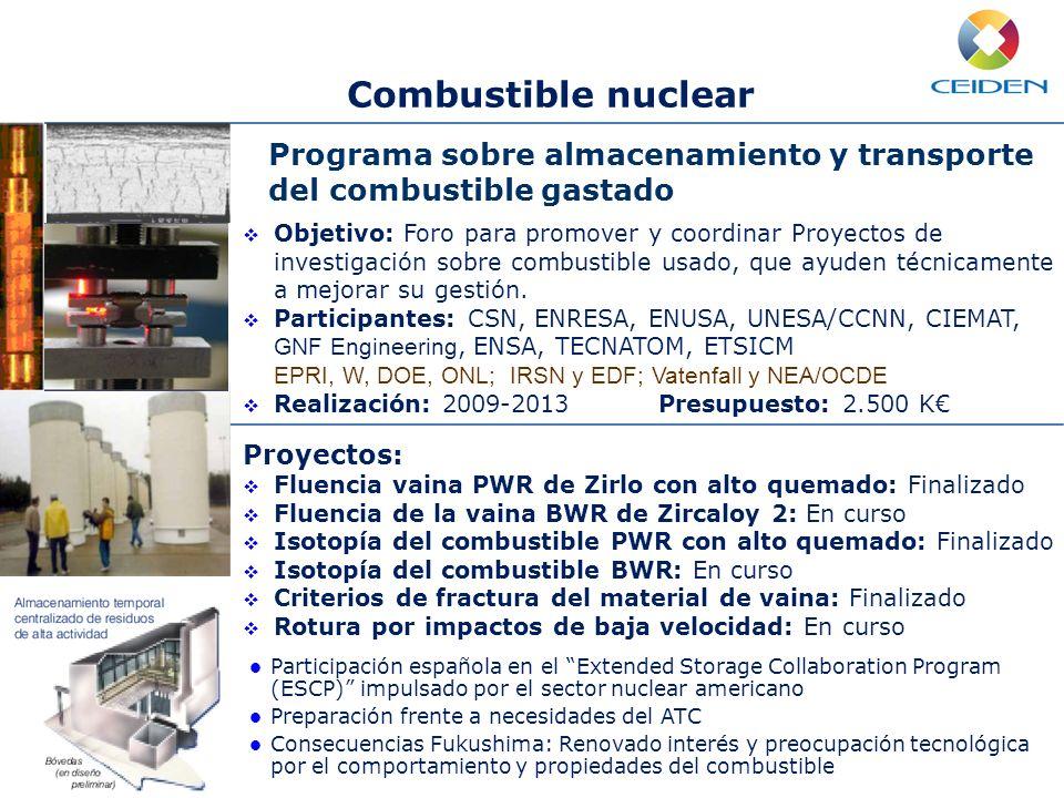 Combustible nuclear Mejora continua de la seguridad Mejora de la eficiencia Operación a largo plazo Nuevo desarrollos Programa sobre almacenamiento y