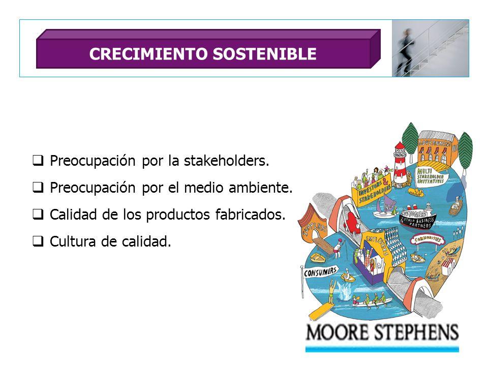 Preocupación por la stakeholders. Preocupación por el medio ambiente. Calidad de los productos fabricados. Cultura de calidad. CRECIMIENTO SOSTENIBLE