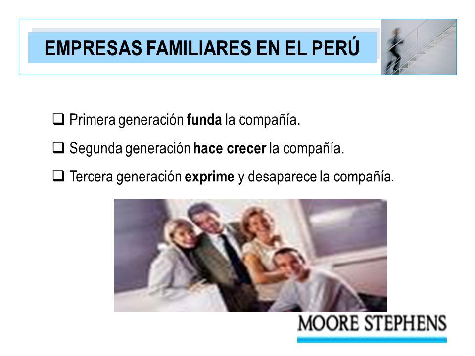 EMPRESAS FAMILIARES EN EL PERÚ Primera generación funda la compañía. Segunda generación hace crecer la compañía. Tercera generación exprime y desapare