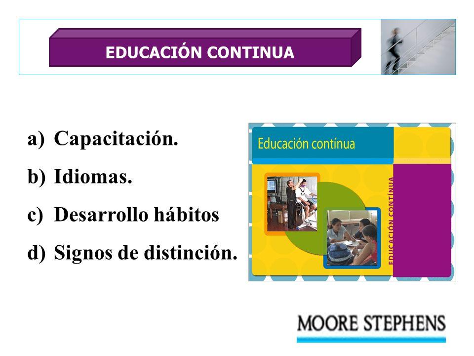 a)Capacitación. b)Idiomas. c)Desarrollo hábitos d)Signos de distinción. EDUCACIÓN CONTINUA