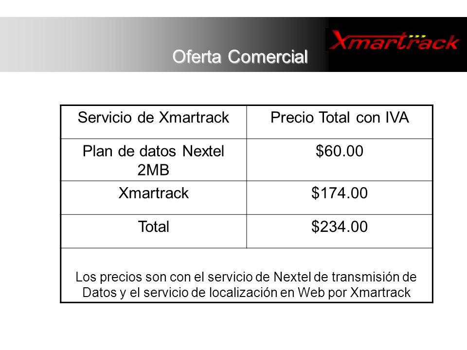 Servicio de XmartrackPrecio Total con IVA Plan de datos Nextel 2MB $60.00 Xmartrack$174.00 Total$234.00 Los precios son con el servicio de Nextel de t