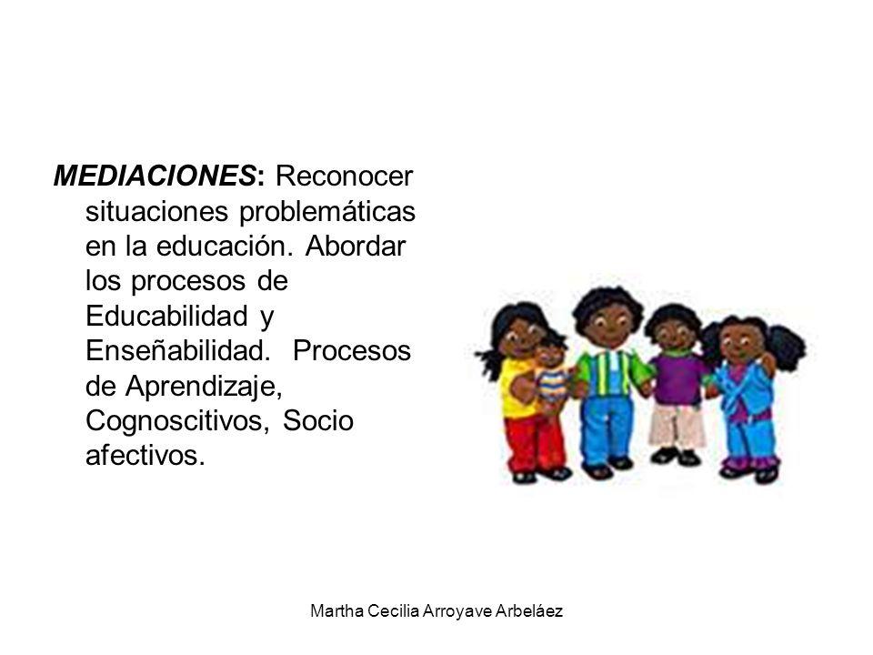 MEDIACIONES: Reconocer situaciones problemáticas en la educación. Abordar los procesos de Educabilidad y Enseñabilidad. Procesos de Aprendizaje, Cogno