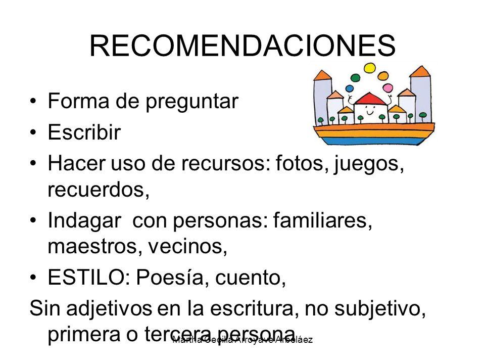 RECOMENDACIONES Forma de preguntar Escribir Hacer uso de recursos: fotos, juegos, recuerdos, Indagar con personas: familiares, maestros, vecinos, ESTI