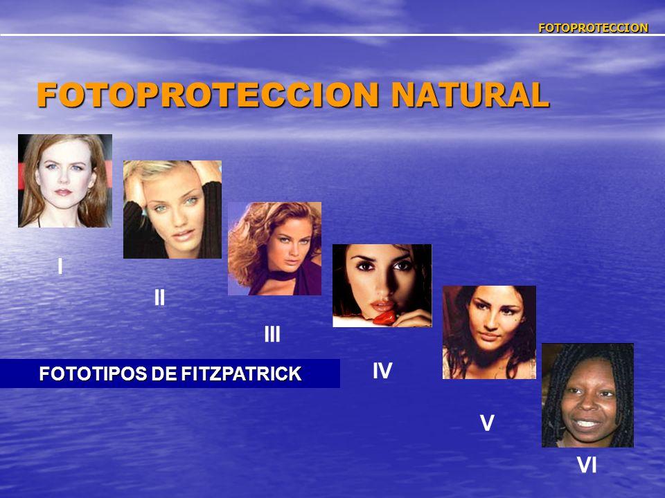 FOTOPROTECCION FOTOPROTECCION NATURAL FOTOTIPOS DE FITZPATRICK I II III IV V VI