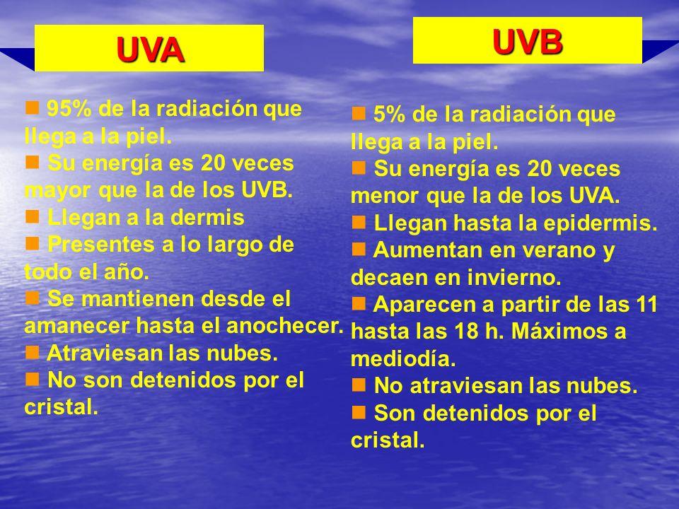 UVA UVB 95% de la radiación que llega a la piel. Su energía es 20 veces mayor que la de los UVB. Llegan a la dermis Presentes a lo largo de todo el añ